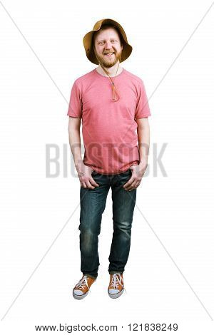 Funny happy man in a panama hat and jeans