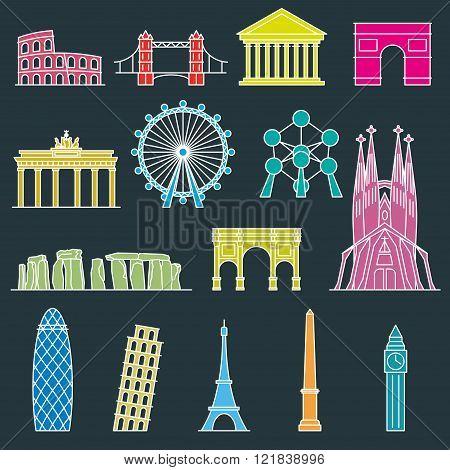 Europe skyline Line art style