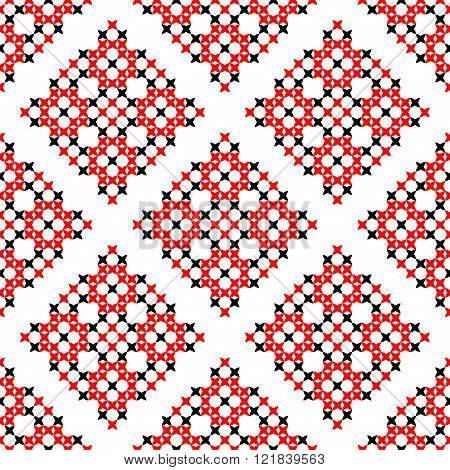 Seamless Texture With Embroidered Black And Red Ornaments