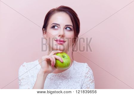 Portrait Of A Young Woman With Apple