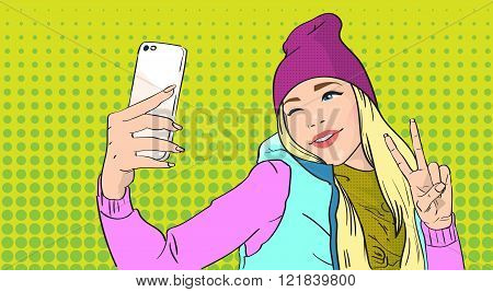 Girl Taking Selfie Photo On Smart Phone Show Two Finger Peace Gesture