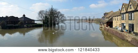 Flooded meadows at St Ives Cambridgeshire England