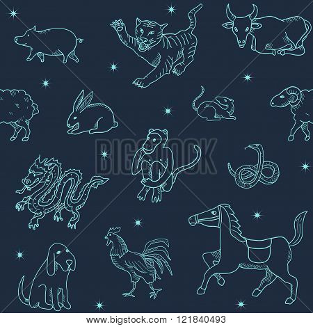 Chinese zodiac. Seamless pattern.