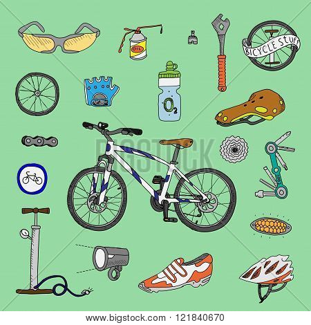 Bicycle stuff. Doodle set on a green background.