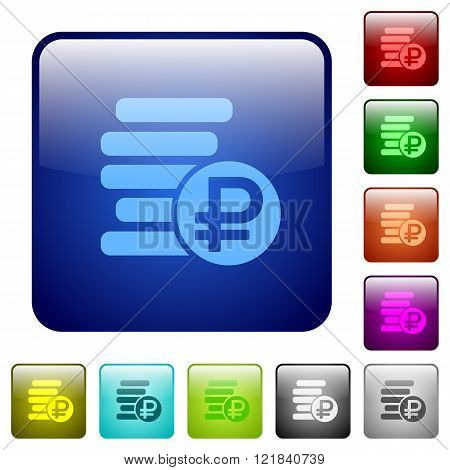 Color Ruble Coins Square Buttons