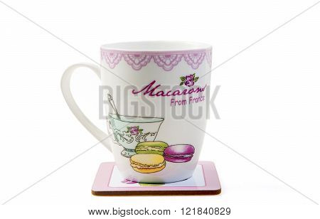 nice mug and pad mug isolated on white background