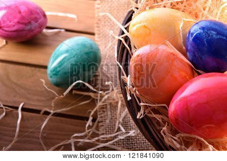 Easter Eggs On A Wooden Table Close Up Top View