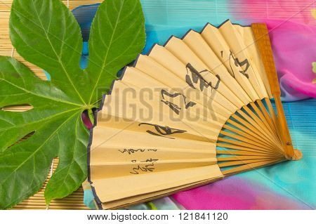 The Fan With The Characters Lying On A Green Leaf