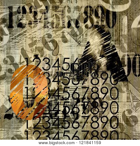 art abstract grunge collage of  number and typo, monochrome  background in sepia, beige and black colors and one orange number