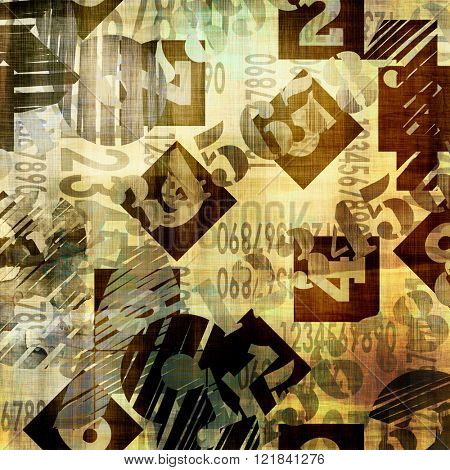 art abstract grunge collage of  number and typo, monochrome  background in old gold, black, grey and brown colors