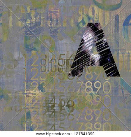 art abstract grunge collage of  number and typo, monochrome  background in black, lilac grey and old gold colors and one black typo