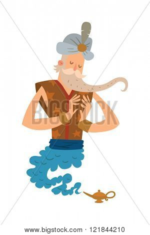 Cartoon genie old man coming out of a magic lamps. Legend cartoon wizard