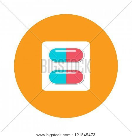 Pills pack blister icon of medication pills package and pills medication flat vector icon. Silver blister packs pills icon medical drugs cartoon flat vector illustration.