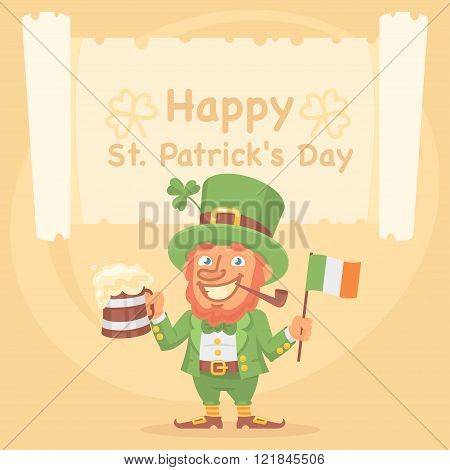 St. Patrick Holds Mug of Beer and Flag