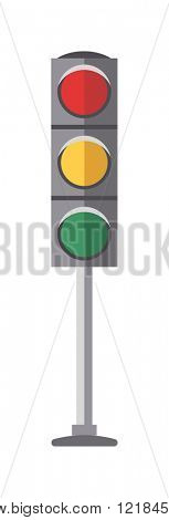 Symbol traffic light lamp and warning semaphore traffic light. Traffic lights with red, yellow and green lights flat vector illustration on white background.