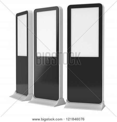 LCD Kiosk Stands with different angles. Black LCD Kiosk Trade Show Booth. 3d render isolated on white background. High Resolution Kiosk. Ad template for your expo design. Kiosk 3d Design