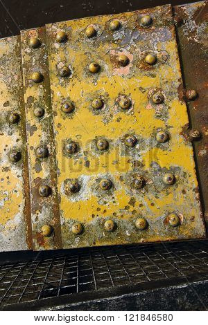 Grunge Metal Background With Yellow Paint