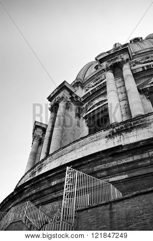 Statuary and dome of St Peter's Basilica. Black and White. Vatican