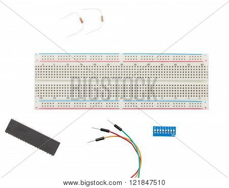 Prototype Solderless electrical Breadboard with Jumper cable resistors toggle switch isolated