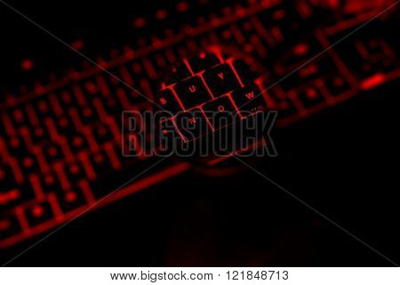 Buy Now Text On The Illuminated Buttons Of The Keyboard
