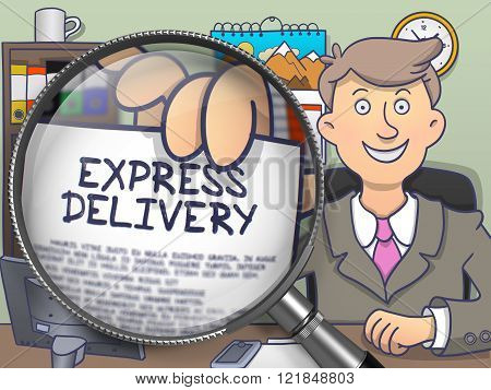 Express Delivery through Lens. Doodle Design.