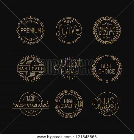 Vector Set Of Linear Badges And Labels