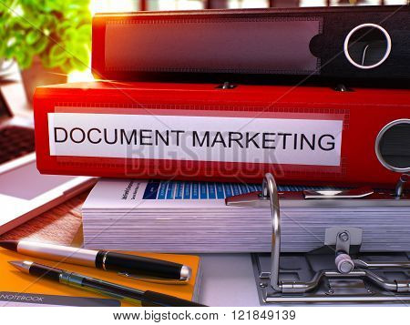 Red Office Folder with Inscription Document Marketing.