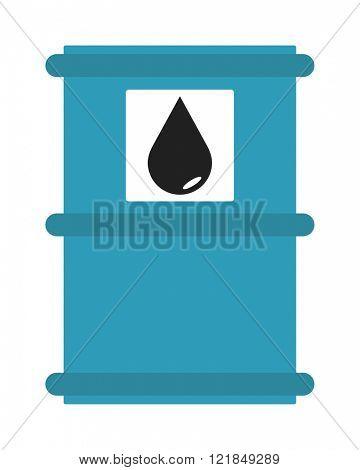 Industrial concept oil tank storage fuel and oil tank liquid container. Blue metal oil tank barrel cartoon flat vector illustration.