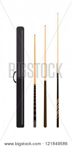 Snooker cue billiard sticks cartoon flat vector illustration on white background or billiard snooker cue play game tool. Snooker cue sport equipment.