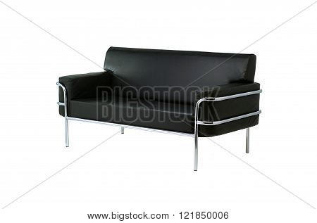 Black sofa on white background