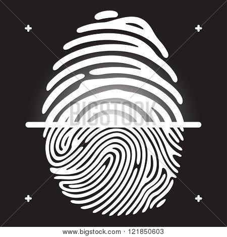 Fingerprint scan. White fingerprint on black background. Elements of fingerprint identification systems, security fingerprint conception, fingerprint apps icons. Vector fingerprint illustration.