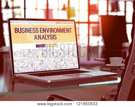Business Environment Analysis on Laptop Screen.