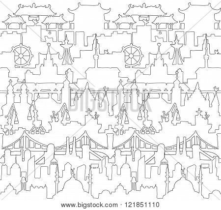 Skylines seamless pattern. Town. Isolated on a white background. Doodle. Vector.