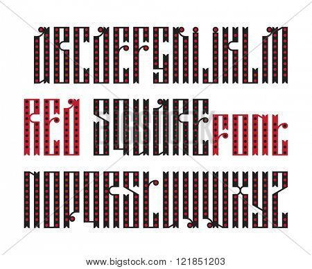 Red Square font. The latin stylization of Old slavic font. Custom type vintage slavic font. Stock vector slavic typography for labels, headlines, posters etc.