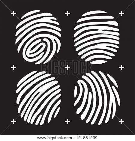 White fingerprint icon set. Fingerprint isolated on black background. Elements of fingerprint identification. security conception fingerprint, fingerprint apps icons. Vector fingerprint illustration.