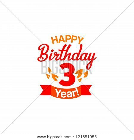 Happy three years Birthday card