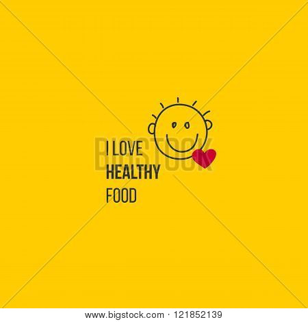 Food symbol with smile and love