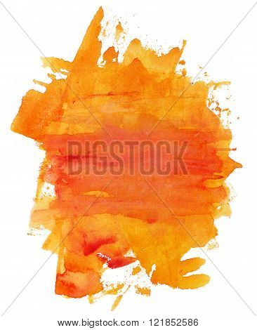 Abstract Artistic Bright Orange Watercolor Background Texture