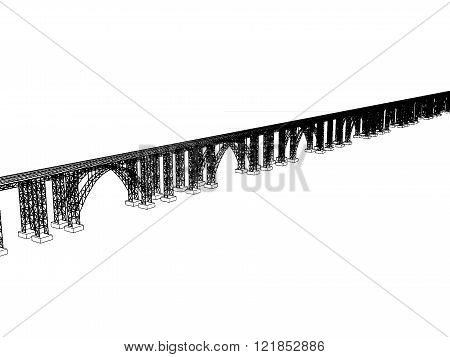 Vector illustration of a bridge with metro