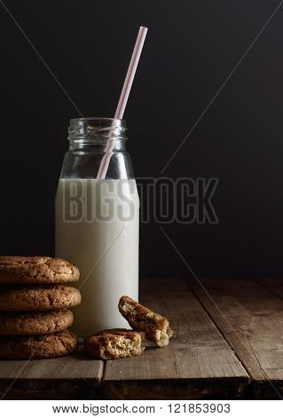 Cookies And Bottle Of Milk