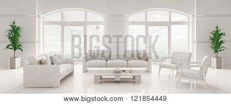Interior Of White Living Room Panorama 3D Render