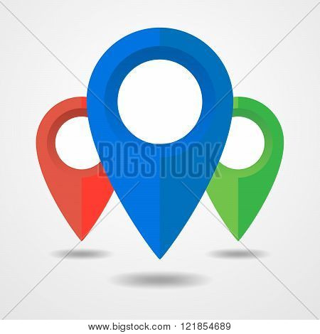 Collection Of Map Markers - Vector Illustration.