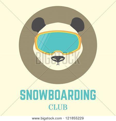 Panda Bear Head With Snowboard Goggles. Vector Illustration,