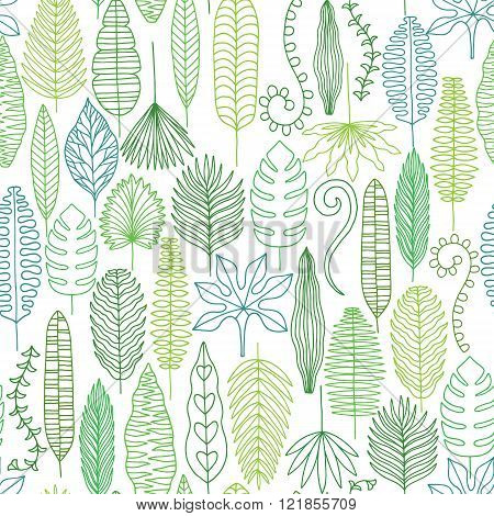 Tropical leaves seamless pattern. Jungle background