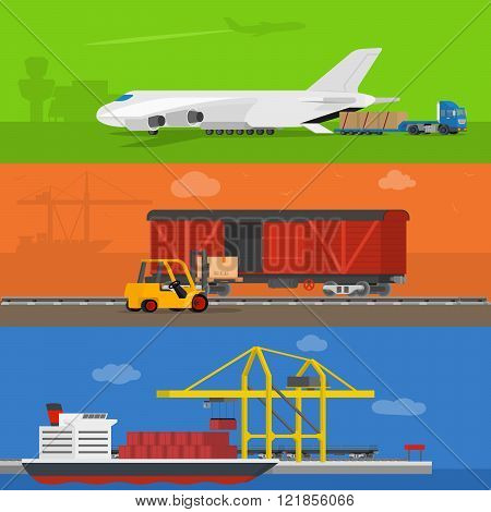Freight logistics and transportation ways featuring seaway cargo shipping airway freight.