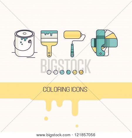 coloring construction icons set vector