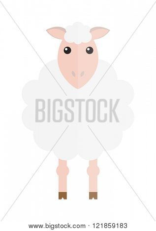 Cute cartoon sheep vector illustration and cartoon sheep isolated on blue background. Sheep, farm, pet animal. Vector sheep farm animal. Cute sheep vector illustration. Sheep vector isolated