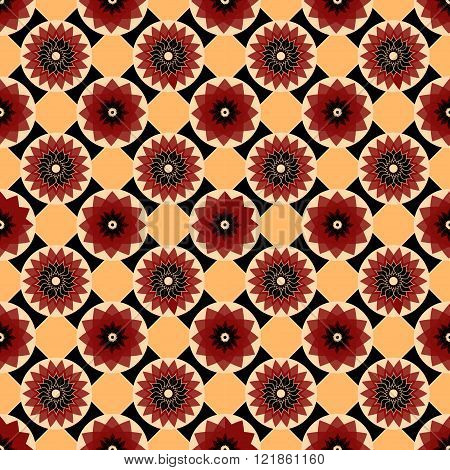 Red, Black And Yellow Vector Seamless Abstract Floral Vintage Texture. Vector Illustration