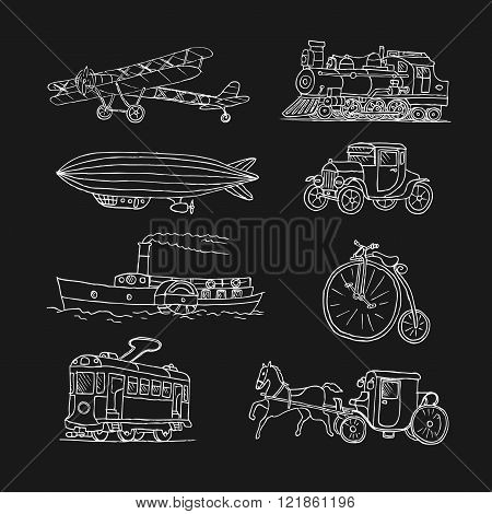 Retro transport. Old times. Airplane, locomotive, zeppelin, automobile, steamboat, bicycle, tram, di