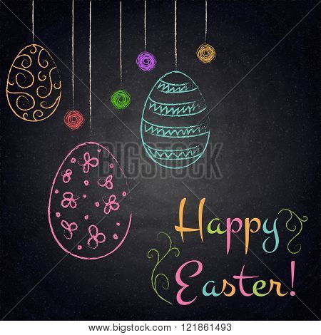 Easter Background With Colorful Eggs On Chalkboard